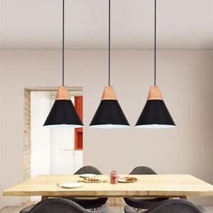 3X Black Pendant Lighting Wood Ceiling Light Home Chandelier Lights Modern Lamp