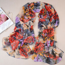 Summer New Women's Red Peony Flower Thin Long Chiffon Georgette Stole Scarf