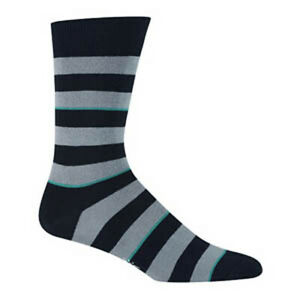 Sock It To Me  80s 90s Gothic Punk Nerd Mens Rugby Gray Black Striped Crew Socks