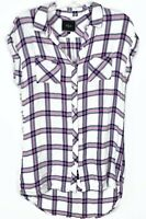 Rails Womens Tunic Shirt Dress Size Medium Button Front Pink White Plaid Flannel