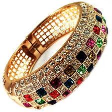 USA Bracelet GOLD clear Swarovski ELMT CRYSTAL wide multi-color Square Bangle