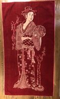 Vintage Jay Franco Geisha Red Pink MCM Bath Towel 50s 60s Decor