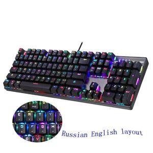 Gaming Mechanical Keyboard Red Switch Blue Metal Wired LED RGB Anti-Ghosting