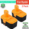 2× 3600mAh for Ryobi 18V Battery Ni-MH ONE+ P100 P101 ABP1801 ABP1803 BPP1820