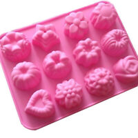 12 Cavities Flowers Shape Silicone Soap Mold Ice Lattice Cake Candy DIY Mould
