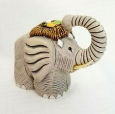 Elephant with Head Dress Trunk Up Signed by Artist Clay Sculpture
