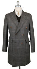New $5100 Luigi Borrelli Brown Cashmere Plaid Peacoat - 40/50 - (CUROMA2134)