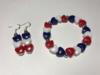 Heart Earrings Bracelet Patriotic 4th July Red White Blue Jewelry Silver Gift US