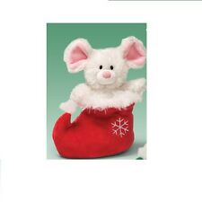"""NWT Gund Mr. Jingles White Mouse In Red Boot 7"""" Plush Holiday Toy"""
