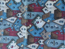Estate Fabric Checkered Past Walters SSI Birds Birdhouses BTY R Quilt
