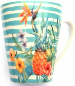 Pineapple with Tropical Flowers Striped Fine China Mug - Comes Boxed