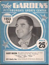 1953-54 PITTSBURGH HORNETS PROVIDENCE REDS OFFICIAL GAME PROGRAM EX BAZ BASTIEN
