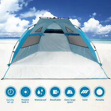 3-4 Person Portable Pop Up Beach tent Sun Shelter Outdoor Camping Tent Blue