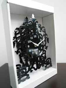 Black Metal 'Skeleton' Clock (Battery) *New*