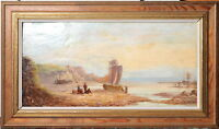 Antique British 19th Century Oil painting on Canvas : Panoramic Seascape