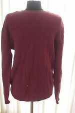St Johns Bay Wine Sweater Sz M Diamond Texture Knit Burgundy Mens Argyle