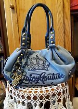 Juicy Couture Blue Velour Satchel with Jewels Gold Hardware Purse Shoulder Bag