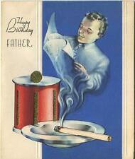 VINTAGE ART DECO TOBACCIANA CIGARETTE ASHTRAY TOBBACO BOX FATHER BDAY CARD PRINT