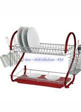 2 Tier RED Kitchen Drip Dish Drainer Plates Rack & Glass Holder NEW
