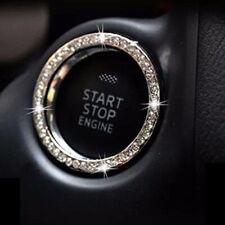 White AUTO DECORATIVE ACCESSORIES Car BUTTON START Switch Diamond Ring Decor