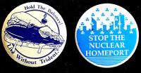 ANTI NUCLEAR WAR - TRIDENT SUBMARINES 1990'S BUTTONS ORIGINAL PINBACKS SCARCE