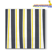 20 Paper Lunch Napkins STRIPED ILLUSION GREY Serviettes Yellow Party 3ply