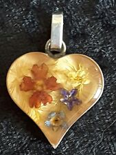 Vtg Sterling Silver Heart w/Dry Miniature Floral Lucite/Acrylic Insert Pendant