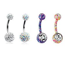 Belly Rings 14G Unique Design Surgical Steel CZ Gems - 4 Pack