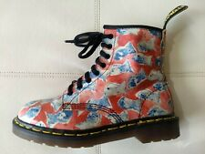 DOC DR MARTENS RED BOOTS BLUE FISH RARE VINTAGE MADE IN ENGLAND UNISEX 6UK 8W 7M