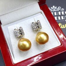 GOLDEN! 12mm South Sea Pearl VS Diamonds 18K Solid White Gold Earrings Natural