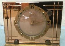 Cobre Art Deco Vintage 1930/40s? Reloj de trabajo de vidrio hecho en Gran Bretaña