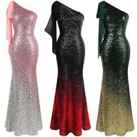 Angel-fashions Asymmetric Ribbon Gradient Sequin Mermaid Prom Dress 286