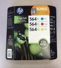 Genuine Tri-Pack Sealed HP Ink Tri-color 564xl Color Combo Pack (M0H74BN) - OEM