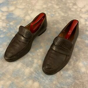 Berluti Sz 8 M Brown Leather Strap Loafers Men's Shoes