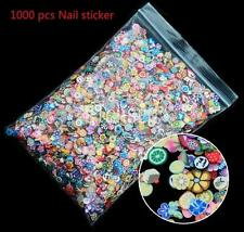 1000pcs 3D DIY Fruit Animals Fimo Slice Clay Cute Nail Art Tips Sticker Decors