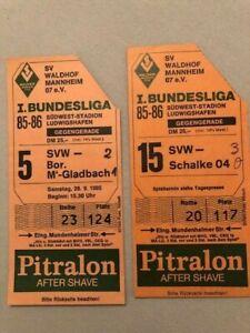 1. Bundesliga 1985/86: 2 Tickets SV Waldhof Mannheim - Gladbach / Schalke 04