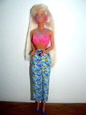Mattel 1980's Blue eyes Blond Barbi pink earrings in pink top printed pants