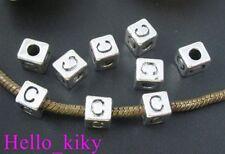 40 pcs Tibetan silver letter C cube beads A494