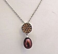 LOVELY NEW HONORA 9mm  BROWN  OVAL PEARL AND CITRINE  NECKLACE STERLING SILVER