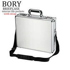 Small Aluminum Hard Case Business Briefcase Interior Pocket Organizer with Strap