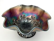 Antique Northwood BLACK AMETHYST Carnival GLASS- Star of David COMPOTE DISH BOWL