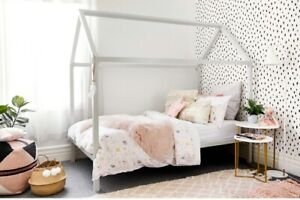 Single white metal house bed frame This Little Love