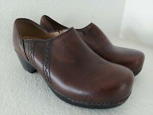 Dansko Womens Clogs Shoes Brown Leather Slip On Wedge EUR 39 US 8.5-9
