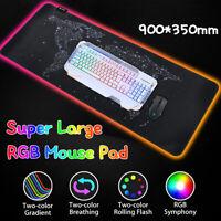 Groß RGB 8 LED Farben Beleuchtung Gaming Mouse Pad Tastatur Matte für PC Laptop