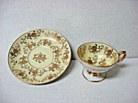 Set = occupied japan CUP SAUCER hand decorated floral relief marked