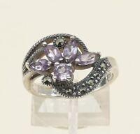 Sz 8, Vtg Sterling Silver Handmade Ring, 925 w/ Amethyst n marcasite inlay