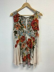 Free People Women's Floral Mini Dress Size MEDIUM Sleeveless Rayon (SEE PHOTOS)