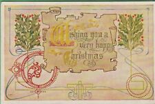 Vintage Antique Christmas Postcard Wishing you a Happy Christmas Typo Classics