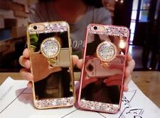 Bling Diamond Crystal Ring Holder Mirror Soft Case Phone Cover iPhone & Samsung