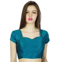 phagun blau Designer indische Partei tragen fertige dupion Bluse Ernte-Top Choli